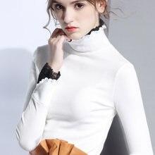Женская футболка с длинным рукавом и высоким воротником универсальная