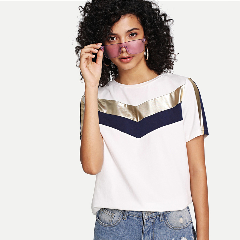 Cut And Sew Solid Chic Short Sleeve Round Neck T Shirt