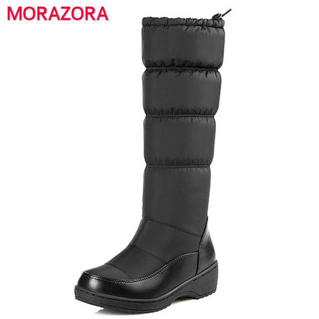 MORAZORA Plus size 35-44 New 2017 Fashion women boots keep warm down snow boots thick fur mid calf winter boots size 35-44 white