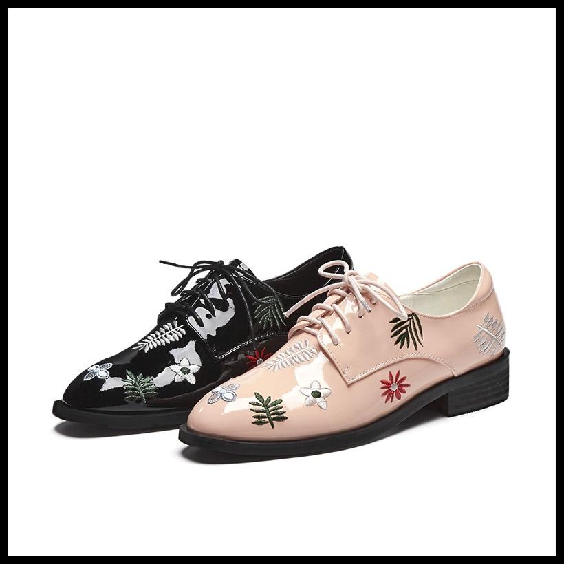 Vintage Plates Chaussures Appartements Cuir Dentelle En rose Véritable Femme Noir Oxford Mocassins Pour Casual Les Broderie Femmes Up YwWR0xOqnq