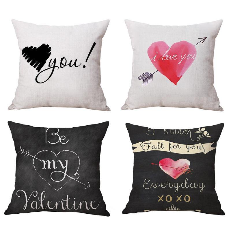 45x45cm Cushion Cover Soft Linen Love Letter Cushion Cover Waist Throw Pillow Case Wedding Decorative Valentines Day Xmas Gift