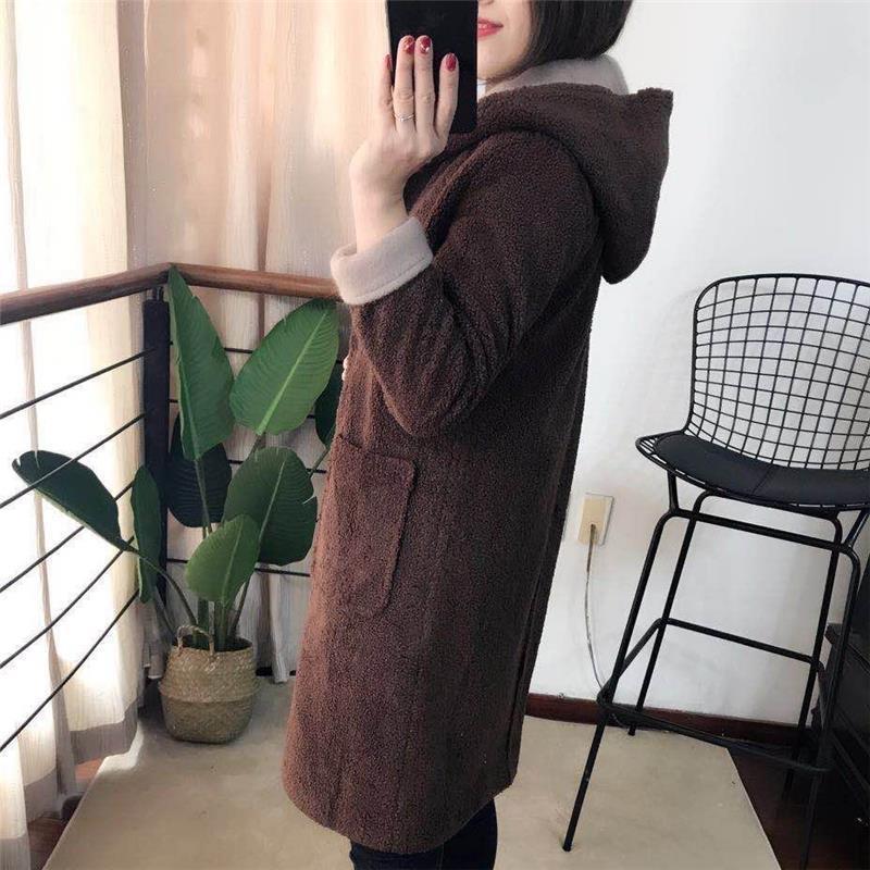 C Dames De Manches Cachemire Lunga Manteau Plus Taille model Laine Jassen Ropa Invierno Mujer A model La Coréenne Model Tapado B Longues Capuche À Maigre Femmes D'hiver rTTEF