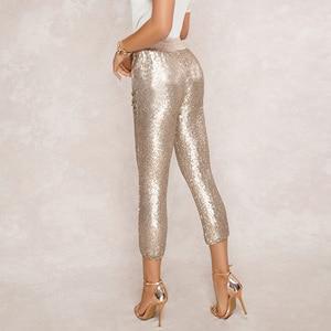 Image 2 - ファッションスパンコールペンシルパンツ 2020 新ホット黒一色/ゴールド女性巾着ウエストブリンブリンパーティーナイトクラブふくらはぎ丈ズボン