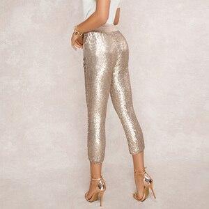 Image 2 - אופנה נצנצים מכנסי עיפרון 2020 חדש חם מוצק שחור/זהב נשים שרוך מותן בלינג מסיבת מועדון לילה עגל אורך מכנסיים
