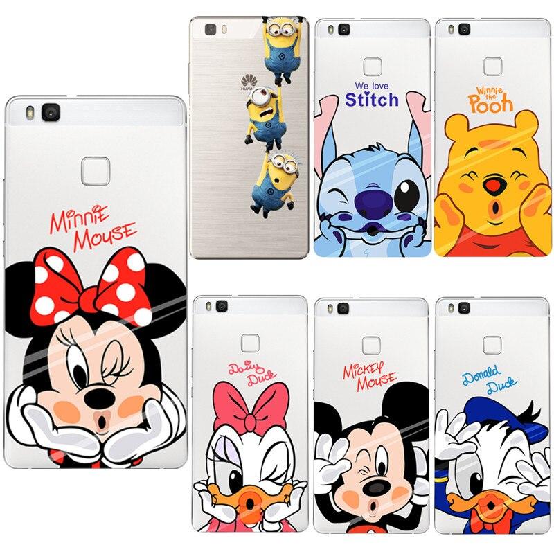 Mickey Minnie Case Ultra Thin Soft Silicon Transparent TPU Cover Coque For Huawei P8 Lite 2017 P9 lite P10 Cases Fundas Capa