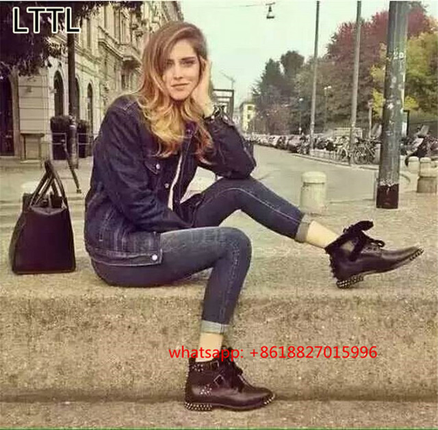 2017 Martins Bottie Velvet Bowtie Studded Ankle Boots For Women Rivets Low Heels Lady Shoes Buckle Combat Riding Boots