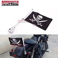 Car Styling Motorcycle Skull Flag With Pole Mount For Harley Kawasaki Davidson Touring Road King Luggage Rack