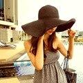 Повседневная большая летняя путешествие черный соломенной шляпе пляж солнцезащитный крем вс шляпу можно сложить