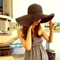 Casual big summer travel black straw hat The beach sunscreen sun hat can be folded
