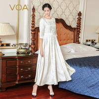 VOA Heavy Silk Jacquard Pearl Beading Swing Dress White Plus Size 5XL Bow Sashes Vintage Women Pleated Maxi Long Dress A7765