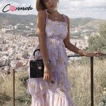 Conmoto Elegant Off Shoulder Strap Long Dress Women 2019 Summer Gold Print Lace up Purple Dress High Waist Ruffle Dress Vestidos