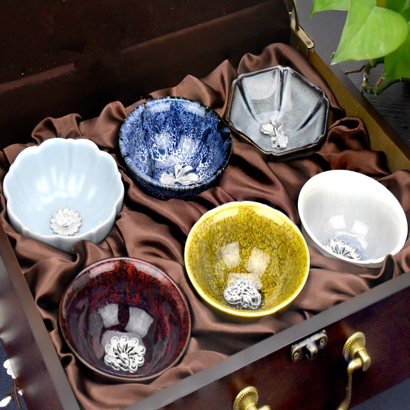 2018 6pcs/Lot Gold Road Silversmith Tea Set Ceramic Set in Sterling Silver Cup Day Glazed Cup Set nice gift for up elder