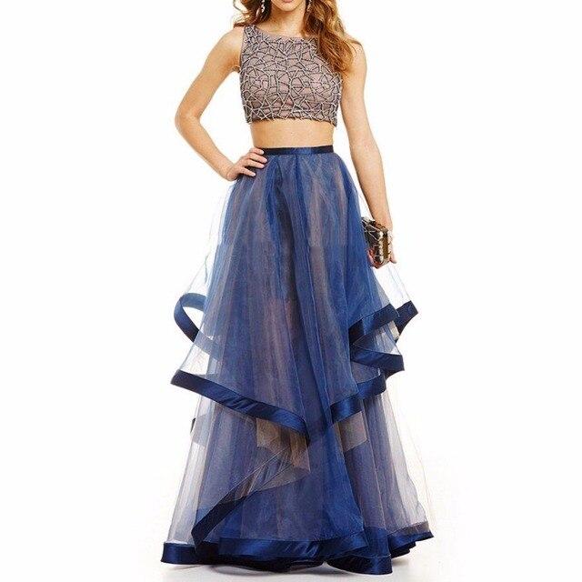 Blue Two Piece Prom Dresses 2017 Long Evening Dresses Plus Size