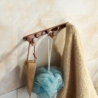 Rose Gold Robe Hooks Bathroom Polished Copper Antique Hooks 3 6 Row Hook Coat Hanger Door Hooks For Bathroom Accessories Sj78