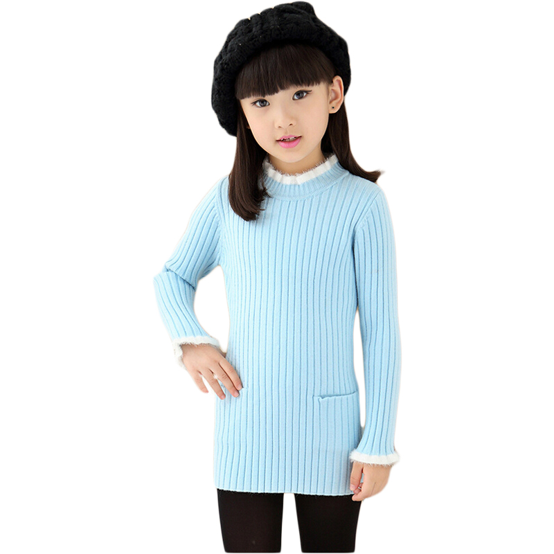 ФОТО Autumn Winter Baby Girls Knitted Long Sweaters Long-Sleeved O-Neck Solid Color Kids Slim Pullovers with Pockets