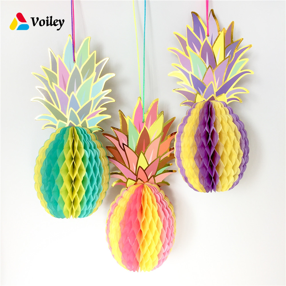 BEACH POOL LUAU PARTY Rainbow Pineapple Paper Honeycomb Decoration Summe Party Pineapple Garland Table Centerpiece Baby Shower,7