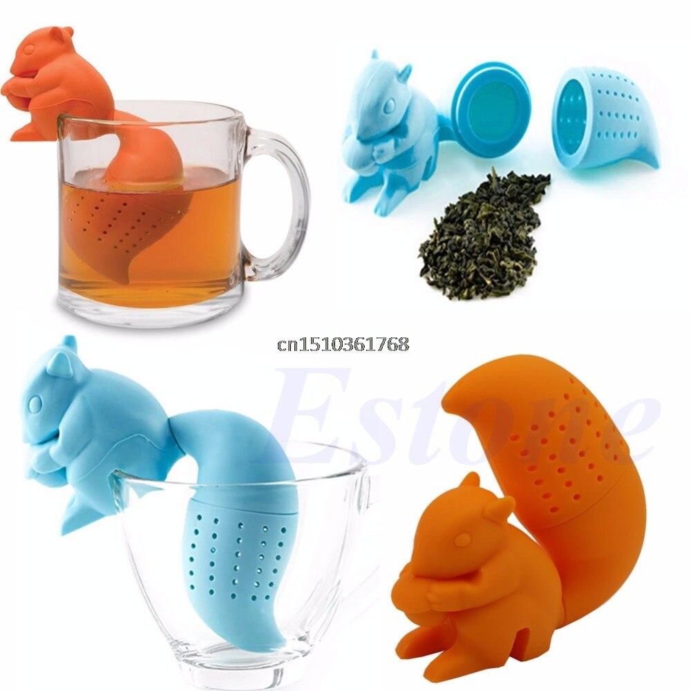 Silicone Tea Infuser Loose Leaf Strainer Herbal Spice Squirrel Diffuser Filter #Y05# #C05# deep tea diver infuser scuba diving herbal loose leaf silicone filter strainer