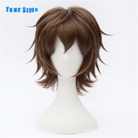 Your Style Short Brown Boy Mens Cosplay Hair Wigs Male Party Costume Synthetic Heat Resistant Fake Natural Hair