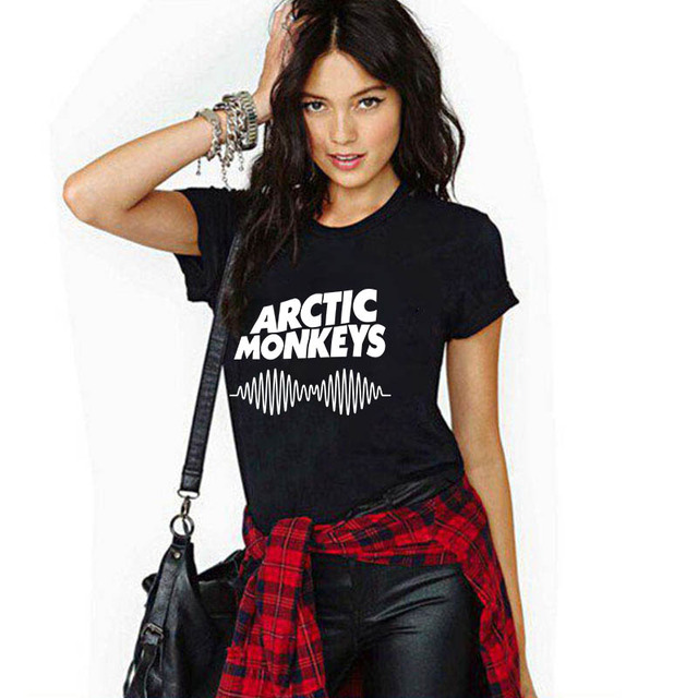 2017 г. женские футболки Harajuku Arctic Monkeys Письмо печати Марка Летняя футболка Femme Повседневные футболки черный тонкий Camisetas Y Топы