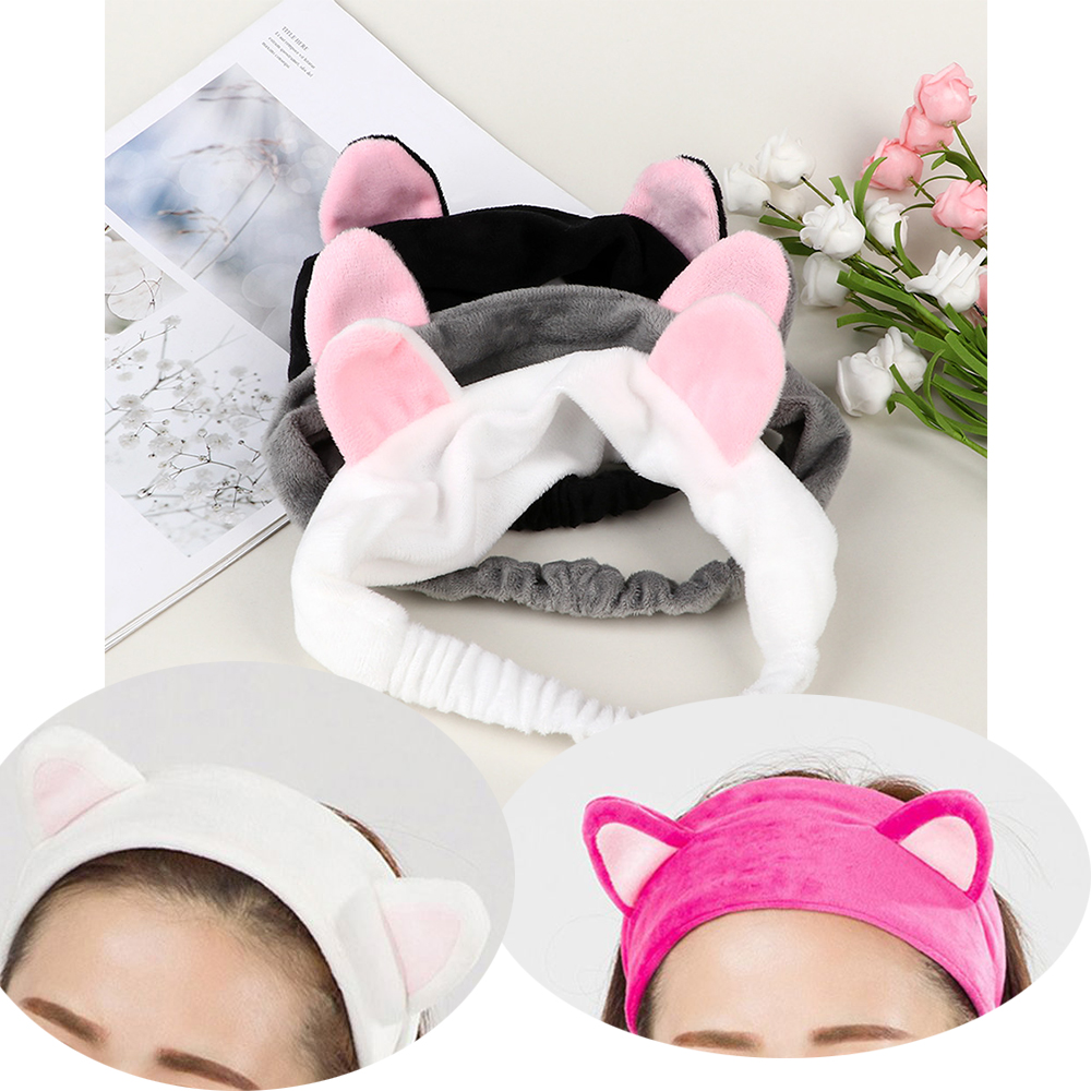 2019 Cute Cat Ears Hair Accessories Makeup Tool Face Cleaing Headband Soft Elastic Multicolor Headdress For Women Girls