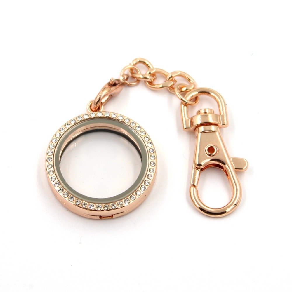 30MM Zinc Alloy Crystal Round Shaped Floating Charms Lockets Keychain , 10 pcs / lot , Free Shipping