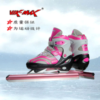 VIK MAX Adult Kids Leather Speed Skating Ice Skates With Aluminium Alloy frame and Stainless Steel Tubular Ice Blade