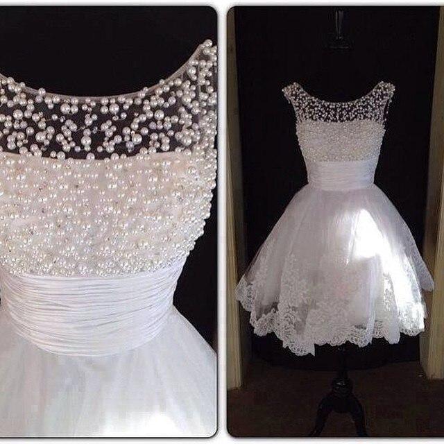 856003752a Vestido De Noiva Cheap Wedding Dresses 2017 Beach Wedding Dress Pearl  Beaded Scoop Short Bridal Gowns
