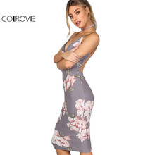 COLROVIE Bodycon Party Dress Women Grey Floral Sexy Backless Slip Summer Dresses Fashion Plunge Neck Elegant Midi Dress