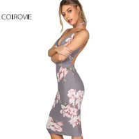 COLROVIE Bodycon Party Dress Women Grey Floral Sexy Backless Slip Summer Dresses 2017 Fashion Plunge Neck