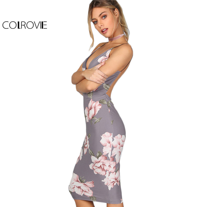Colrovie partido bodycon dress mujeres gris floral plunge cuello backless atract