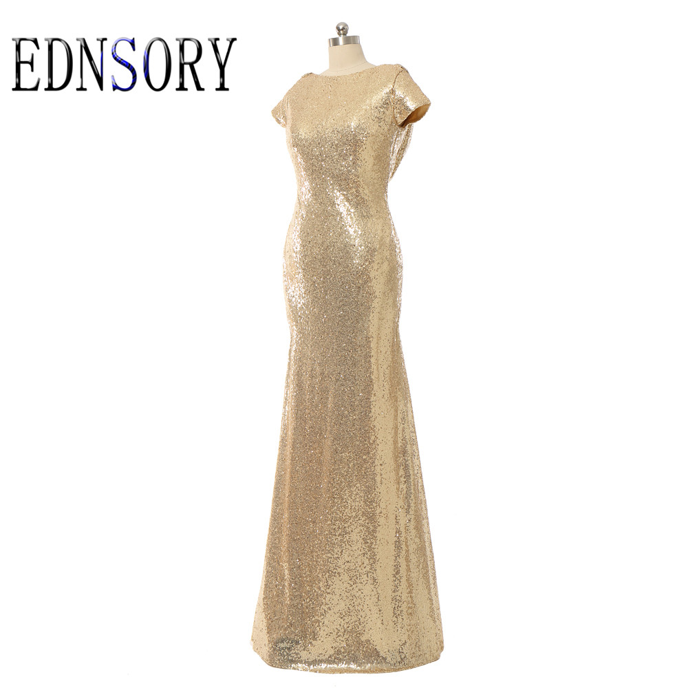 Free shipping mermaid long champagne gold sequined for Champagne gold wedding dress