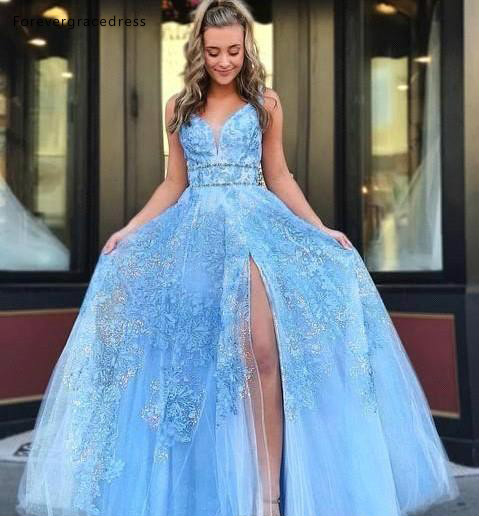 Sky Blue   Prom     Dresses   2019 Sexy A Line Appliques Split Pageant Holidays Graduation Wear Formal Evening Party Gowns Plus Size