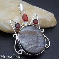HERMOSA Schmuck einfache fashion natürliche oval Hämatit Granat 925 sterling silber exquisite Retro halskette anhänger AZ901