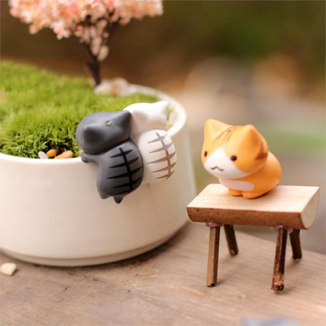 Lovely 6pcs/set Cartoon Lucky Cat Micro Landscape Kitten Miniature Craft Home Garden Bonsai Decorations Miniatures Gift 5