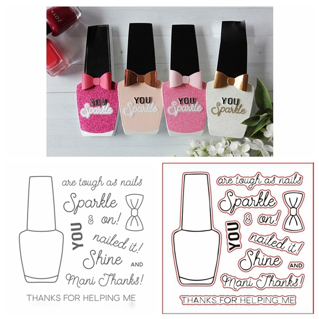 nail polish bottle clear silicone stamp with metal cutting dies
