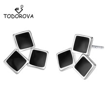 Todorova Minimalist Earrings Simple Black Three Square Stud Geometric for Women Jewelry Orecchini