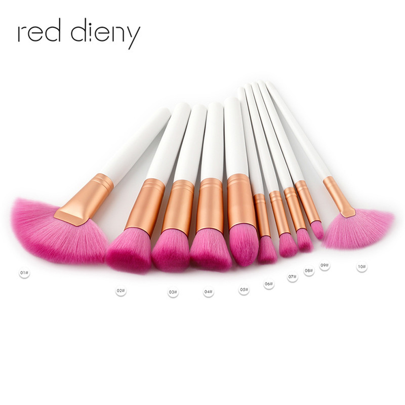 10pcs  Makeup Brushes Kit Natural Soft pink Synthetic Hair Bristles Foundation Blush Eyeshadow Cosmetic Brush Make Up Tool 24 pcs soft synthetic hair make up tools kit cosmetic beauty makeup brush sets foundation brushes with pink love heart case