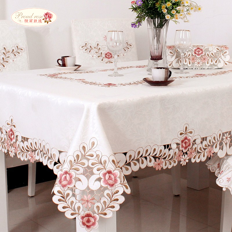 Proud Rose European White Jacquard Cloth Embroidered Tablecloths/ Pale Pink  Flower Tea Table Cloth/