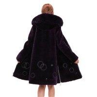 Большие размеры 4XL куртка Для женщин Имитация меха лисы воротник с капюшоном зимнее пальто с мехом Роскошные стрижки овец Тонкий Теплый Вер