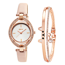 top new cut cat bangle with fashion lady watch cystal shinny style japan movement rose color chain bracelet  gift set for girls