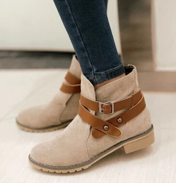Boots Femme Plat Talon Chaussure TclJFK1