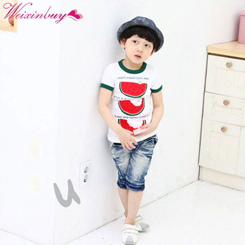High Quality Children Kid Toddler Tops Cozy T-Shirt Child Boys Cloth Crew Neck Watermelon Tee Shirt