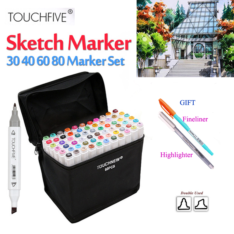 TOUCHFIVE Painting Art Mark Pen Alcohol Paint Manga Cartoon Graffiti Sketch Artist Double Headed Markers Brush Set TOUCHFIVE Painting Art Mark Pen Alcohol Paint Manga Cartoon Graffiti Sketch Artist Double Headed Markers Brush Set