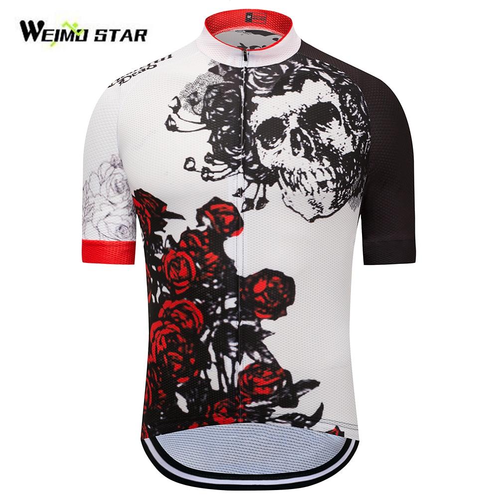 Cycling Jerseys Women Men Skull And Rose Short Sleeve Cycling Jersey Mountain Bike Clothing Ropa Ciclismo Pro Team Cycle Shirt Black White Cycling