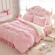 цена на White Blue Princess Girls Bedding set Thick Fleece Warm Winter Bed set King Queen Twin size Duvet cover Pillow Cover Bed skirt