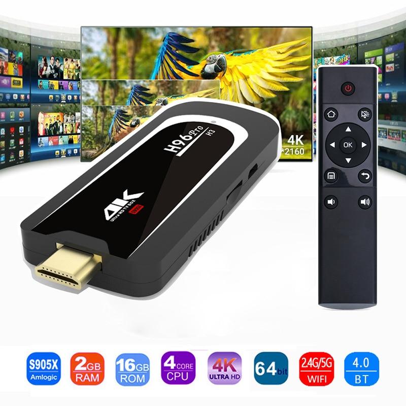 H96 Pro 4 k Tv Bâton Android 7.1 OS Amlogic S905X Quad Core 2g 16g Mini PC 2.4g 5g Wifi BT4.0 1080 p HD Miracast TV dongle H96Pro