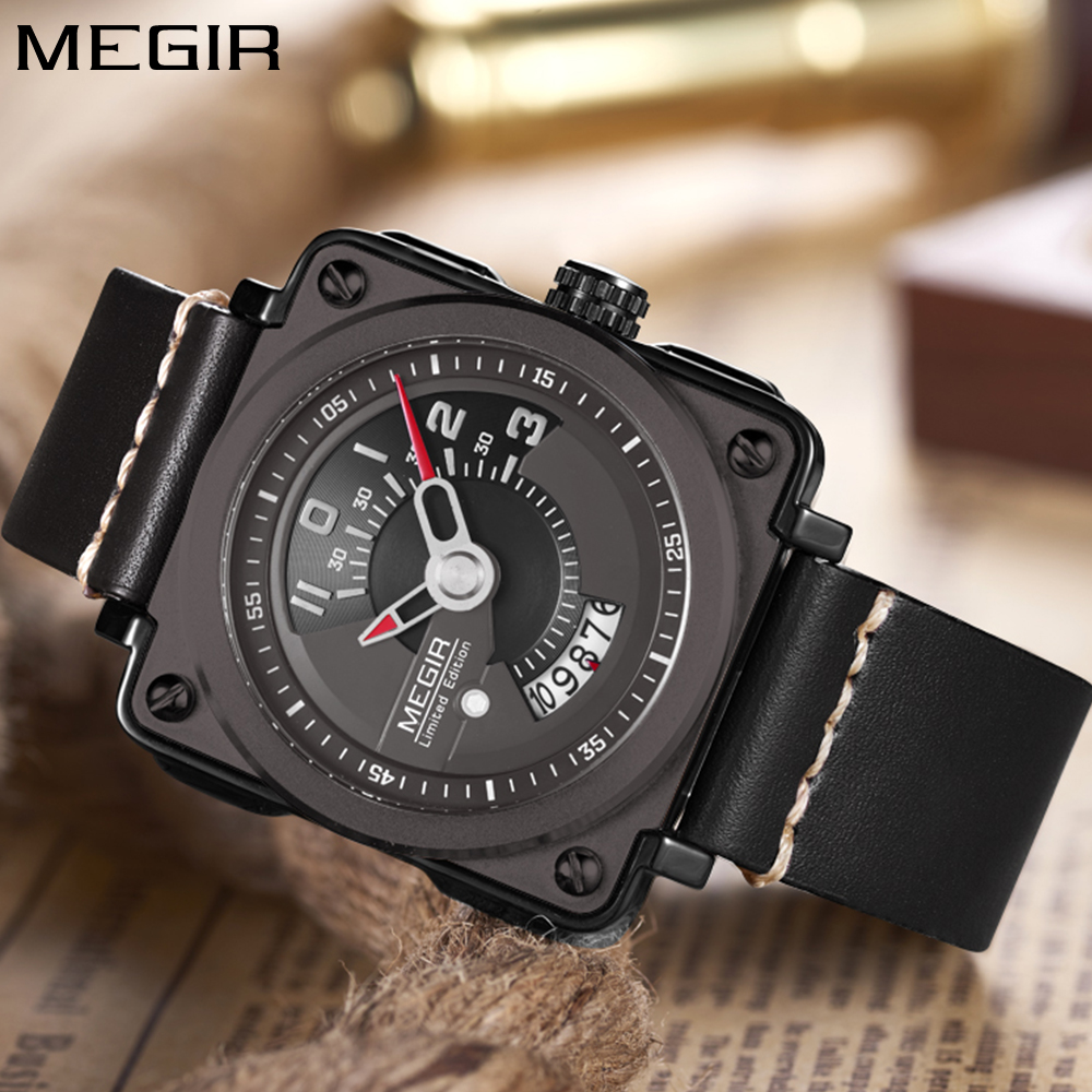 Megir Brand Luxury Mens Watches Fashion Sport Quartz Watch Black Gold Genuine Leather Strap Wristwatch Men relogio masculino oulm mens designer watches luxury watch male quartz watch 3 small dials leather strap wristwatch relogio masculino