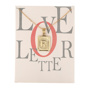 26 Letter Necklace Gold Color Military Card Series Chain Choker Make a Wish Card Name Necklace For Women Girl