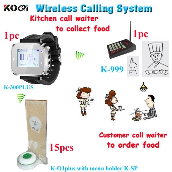 Système de serveur d'appel de cuisine sans fil pour ramasser les aliments avec vibreur pagination avec 1 clavier 1 montre 15 appel cloche avec support de menu