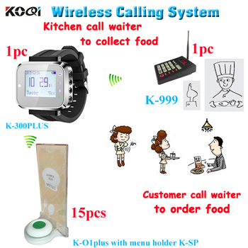Wireless kitchen call waiter system to pick up foods with buzzer paging with 1 keypad 1 watch 15 call bell with menu holder